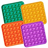 MATICAN Push Pop Bubble Fidget Sensory Toy, 4-Pack Push Pop Fidget Toy, Square, Purple, Orange, Mint Green, Yellow