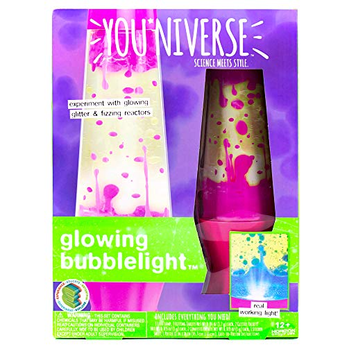 YOUNIVERSE Create Your Own Glowing Bubble Light by Horizon Group USA, Built in Light Lamp, DIY 7 Girl Stem Science Experiments with Liquid Density, Assorted/Pink