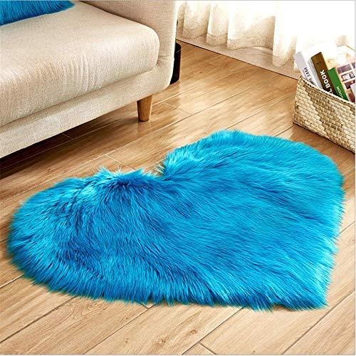 SHJIA Baby Zimmer Schlafzimmer Weiche Bereich Matte Langen Behaarten Teppich Blau Weiß Rosa Teppich Liebe Herz Form Teppiche