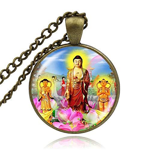 Fashion Cabochon Glass Buddhist Buddha Necklace Pendant Photo Picture Charm Jewelry Women Girls Gifts
