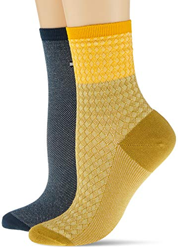 Tommy Hilfiger womens TH SHORT 2P REFINED ARGYLE Socks, pale yellow, 35/38 (2er Pack)