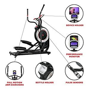 Sunny Health & Fitness Motorized Elliptical Trainer Elliptical Machine with Programmable Monitor, High Weight Capacity and 20 Inch Stride -SF-E3875
