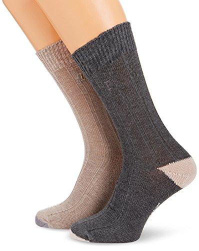 French Connection Herren Felix Formal 2PK Socken, Mehrfarbig (Sand/Filigree), (Herstellergröße: One Size)