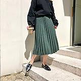 DAHDXD Mode Stricken Faltenrock Damen Winter hohe Taille Röcke weibliche warme elastische Rock Damen grün