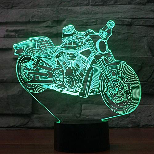 Only 1 Piece 3D Light Touch Night Light 7 Color Changing Motorcycle Sleep Light USB 3D LED Light