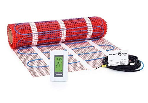 25 sqft, 120V Heattech Electric Radiant Floor Heating Mat In-floor Tile Stone Heating with Adhesive Backing, Sticky Mesh + AUBE TH115-AF-120S radiant floor sensing thermostat with floor sensor -  HTMAT-KIT-120-25