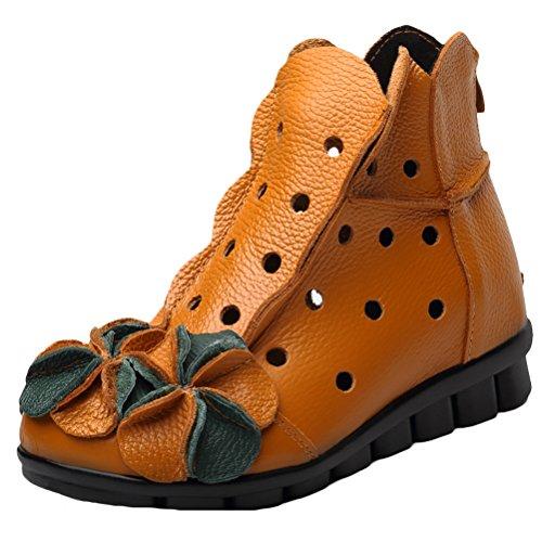 Vogstyle Vogstyle Damen Neu Beiläufig Blumen Lederstiefel Handgefertigt Kurze Boots Gelb Art 2 EU 38.5-39=Asian 40