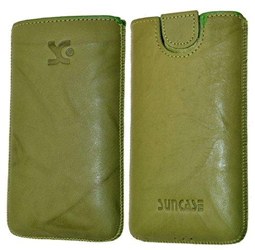 Original Suncase Tasche für / Emporia PURE / Leder Etui Handytasche Ledertasche Schutzhülle Hülle Hülle - Lasche mit Rückzugfunktion* in wash grün