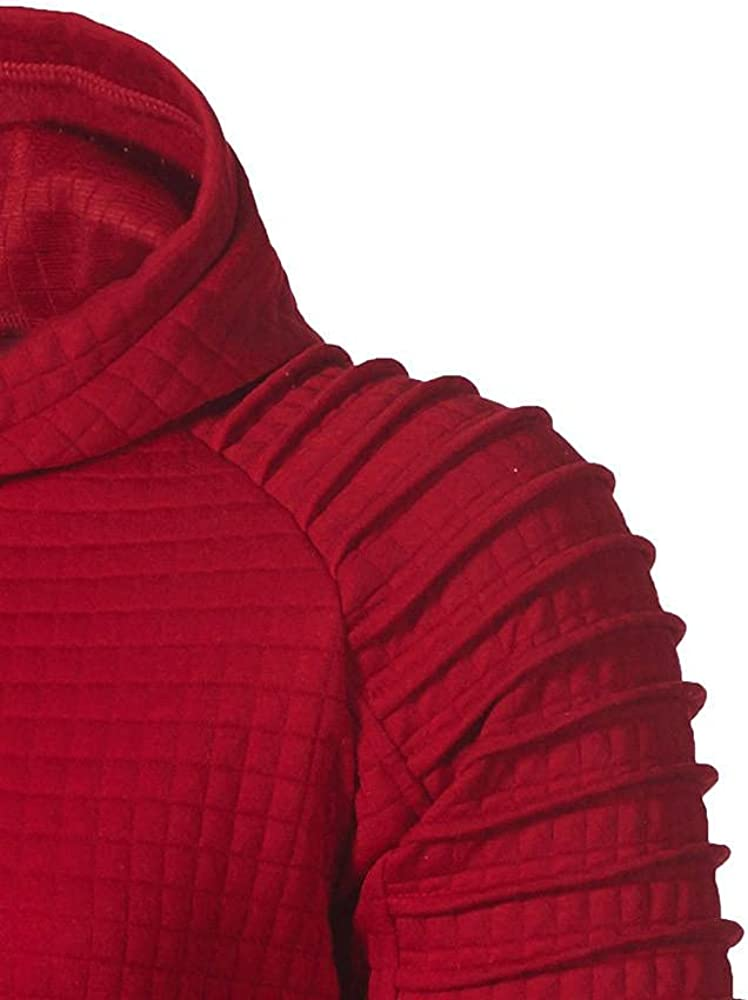 Men's Casual Pullover Hoodies Crewneck Plaid Jacquard Long Sleeve Hooded Sweatshirts Lightweight Solid Sports Fitness