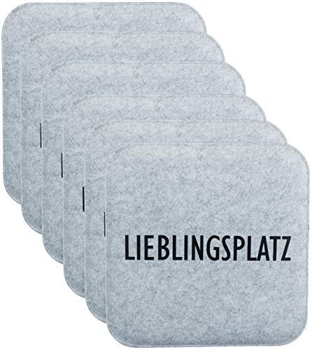 Brandsseller Wende-Sitzkissen Filz zweifarig Eckig Stuhlkissen Sitzpolster Auflagen - 35 x 35 x 1,0 cm (6er-Vorteilspack, Lieblingsplatz Anthrazit/Grau)