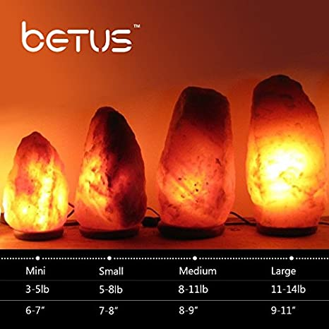 Betus 6 to 7 Inches Height 3 to 5 Pounds Natural Crystal Himalayan Salt Lamp Hand Carved on Wood Base with Dimmable Cord and Light Bulb