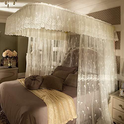 Nobrand - Mosquitera para cama de cuatro esquinas, mosquitera doble para el hogar, para cama, con diseño de princesa, con texto en inglés