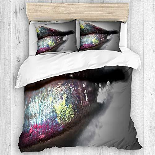 Minalo Bettwäsche-Set,Mikrofaser,Mehrfarbiger Lipgloss,1 Bettbezug 135x200 + 2 Kopfkissenbezug