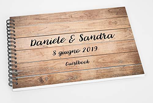 Guestbook matrimonio - libro dediche e auguri invitati personalizzato legno vintage shabby chic