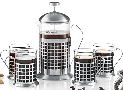 Gourmia GCM9835 5-Piece French Press Coffee Maker Set 800 ml French Press Coffee Brewer With 4 Matching Stainless Steel Drinking Cups