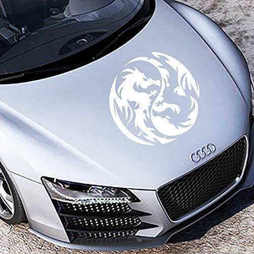 INDIGOS UG Aufkleber - Autoaufkleber Yin Yang Drache 40cm x 40cm Weiß - Tuning Carystyling Heckscheibe Auto