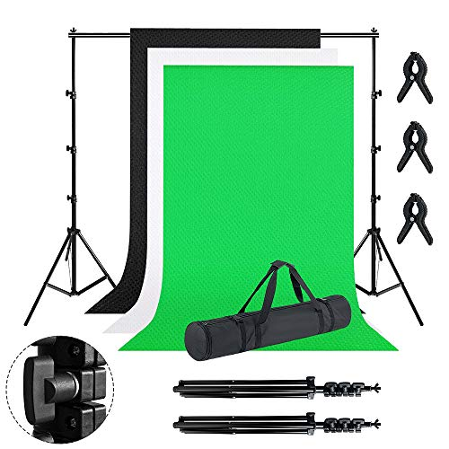 LZQ Professionelles Fotostudio Set 1.8 x 2.8M mit Tragtasche und 2,6 x 3M Stativ, 3 Farbe Vliesstoff Hintergrundstoffe, Fotostudio Hintergrundsystem für Produktfotografie Portrait und Videoaufnahme