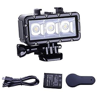 Suptig ダイビングライト ハイパワー 調光機能付き 防水 LED ビデオライト フィルナイトライト ダイビング 水中ライト 防水 147フィート(45m) GoPro Hero 6/5/5S/4/4S/3+/2/SJCAM SJ4000/SJ5000/YIアクション用