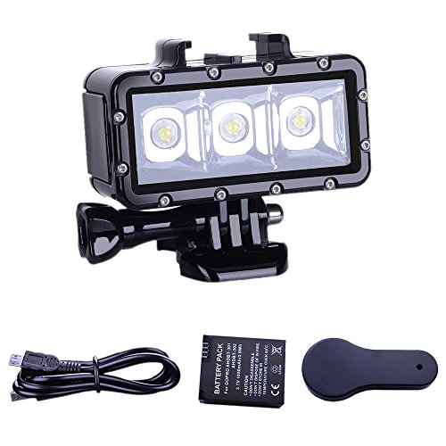 SupTig Tauchen Licht High Power dimmbar wasserfest LED Video Aufhellung Nachtlicht Tauchen Unterwasserlicht Wasserdicht 147FT (45m) für GoPro Hero 6/5/5S/4/4S/3+/2/SJCAM SJ4000/sj5000/Yi Action