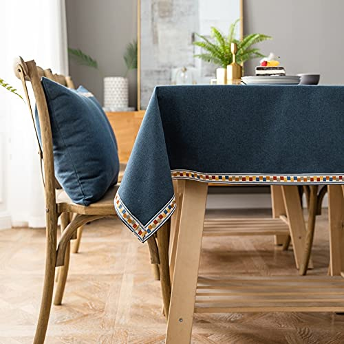 Europa Mantel de Navidad de Lujo Impermeable Algodón Lino Bordado Encaje Decoración Gris Rectangular Mantel Textiles para el hogar L 140x240cm