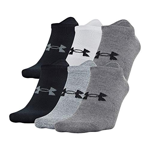 Under Armour Adult Essential Lite No Show Socks, 6-Pairs , Gray Assorted , Large