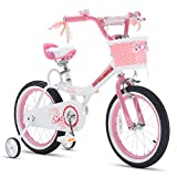 RoyalBaby Girls Bike Jenny 12 Inch Girl's Bicycle With Training Wheels Basket Child's Cycle Pink