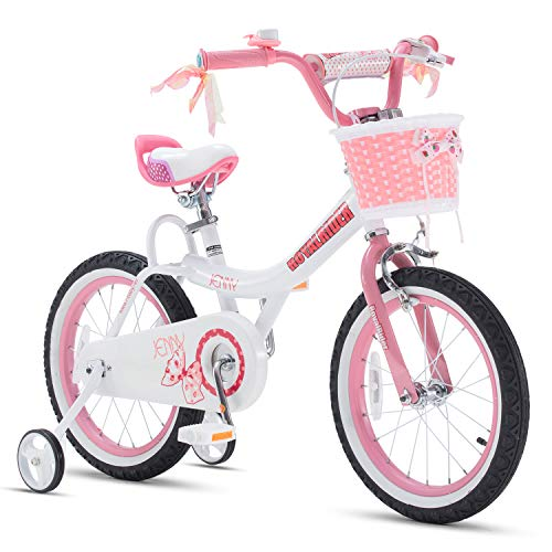 RoyalBaby Girls Bike Jenny 14 Inch Girls Bicycle With Training Wheels Basket Childs Cycle Pink