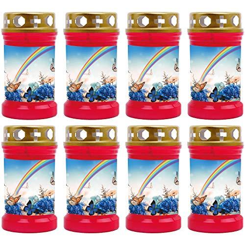 HScandle Grabkerze - 8er Pack - (Rot) Grablicht ca. 40h Brenndauer je Kerze - Motiv: Regenbogen