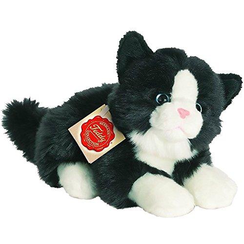 Hermann Teddy Collection 906896 - Plüsch-Katze liegend, 20 cm, schwarz/weiß