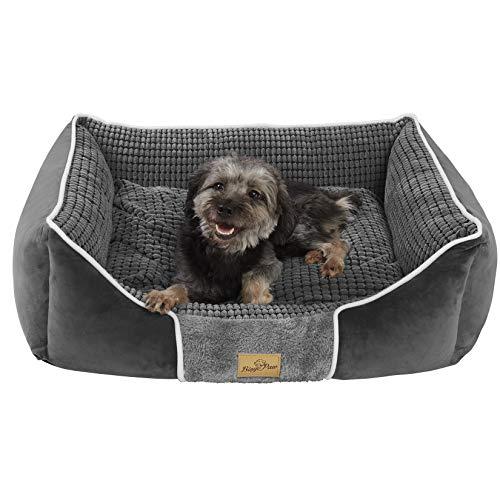 BingoPaw Weiches Hundesofa für große/mittelere/kleine Hunde, Hundebett mit Wendekissen, abnehmbar und waschbar Hundekörbchen, 66x53/80x60/93x78/107x85cm