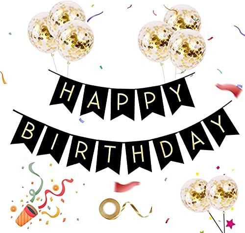 """Pancarta de feliz cumpleaños con globo de oro negro, alfabeto gigante, pancarta de """"Happy Birthday"""", globos de confeti de lentejuelas de látex, conjunto de decoración de cumpleaños"""