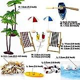 Strand-Mikrolandschaft Miniliegestuhl Strandkorb Sonnenschirm Kleine Palme Deko Accessoires, 16 Stück Miniatur-Ornament-Set für DIY Fee, Garten, Puppenhausdekoration, Einzigartiges Geschenk - 6