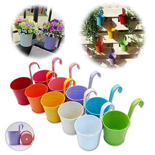 GIOVARA Vaso portafiori in Metallo a Forma di Secchiello da Appendere, Vaso da Giardino con Foro di drenaggio e Gancio Rimovibile (10 Pezzi con 10 Colori Assortiti)