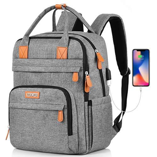 Laptop Rucksack Damen, Schule Rucksack für 15.6 Zoll Laptop Schulrucksack mit USB-Ladeanschluss für Arbeit Wandern Reisen Camping, Oxford, 20-40L