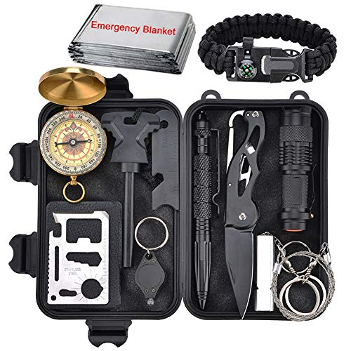 XUANLAN Emergency Survival Kit 13 in 1, Outdoor Survival Gear Tool with Survival Bracelet, Fire Starter, Whistle, Wood Cutter, Water Bottle Clip, Tactical Pen (Survival Kit 2)