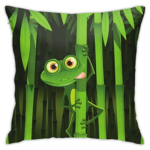 Moshow Fundas de Almohada Fundas de Cojines decoración Geométrica Verde Bambú Cute Frog Cartoon en el sofá Cama del Coche 45X45 CM