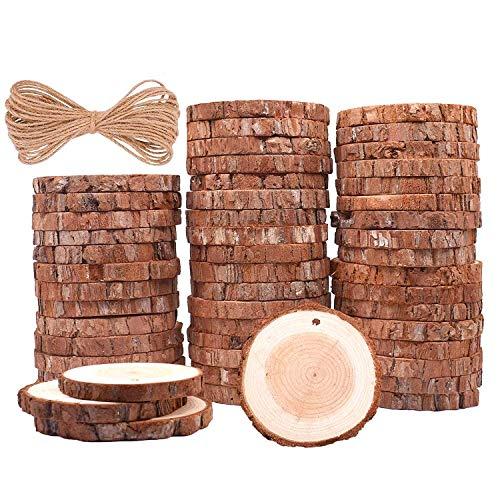 Rodajas de Madera Círculos 6-7 cm 50 pcs TICIOSH Discos de Madera Rebanada 20m Cuerda de Cáñamo Maderas Naturales Perforado Con Corteza de Árbol Para Manualidades