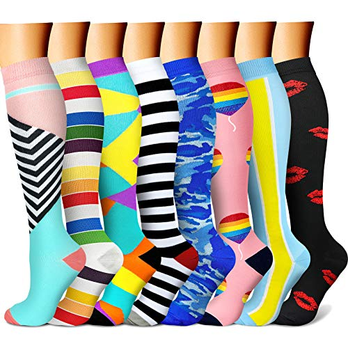 CHARMKING Compression Socks for Women & Men Circulation 15-20 mmHg is Best Graduated Athletic for Running, Flight Travel, Support, Pregnant, Cycling - Boost Performance, Durability (L/XL, Multi 13)