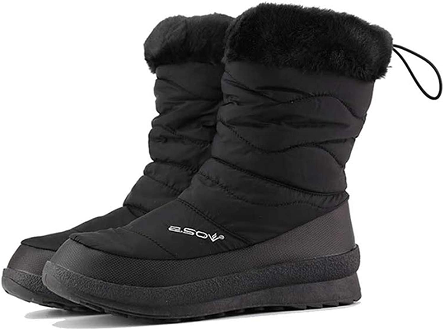 Fay Waters Women's Warm Fur Ice Maiden Insulated Down Anti Slip Mid Calf Flat Dots Cotton Snow Boot