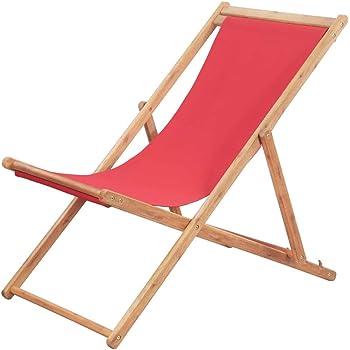 Festnight Chaise Pliante Jardin pour tressée Chaise de Plage Chaise Longue Pliable de Patio en Tissu Rouge