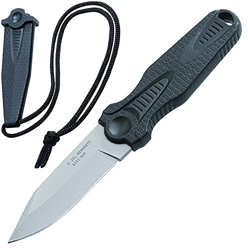 Herbertz Neck Knife - Stahl AISI 420 - matt gestrahlt - Kunststoff Griff - Kunststoff Scheide - Tragekordel