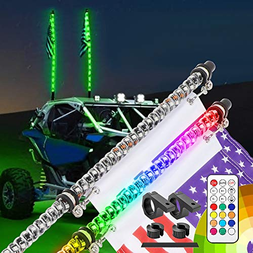 5FT LED Whip Lights RF Remote Control 360°Spiral Whip Light with Mounting Bracket Kit for Off- Road for ATV UTV RZR Jeep Trucks Dunes Sand Buggy Dune RZR Can-am,2pcs