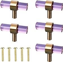Happytoday Kabinet knoppen, creatieve 5 set kast knoppen T bar glas messing moderne lade trekt blauw/chocolade/paars/roze/...