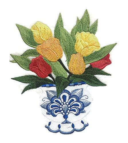 Mooie Aangepaste Delfts Tulpen Bloemen met Vaas Geborduurd Ijzer Op Naaien Applique Patch [6.5 X 6 inches]