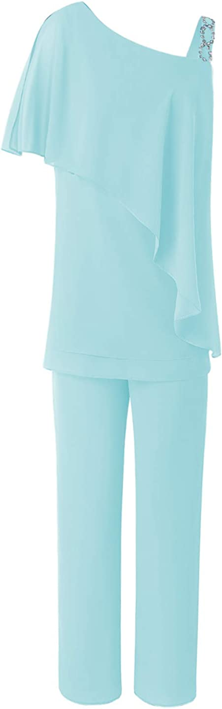 Women's 2 Pieces Ruffles Chiffon Mother of Bride Dress Pants Suit Sleeveless for Wedding(US 20 Plus, ICY Blue)