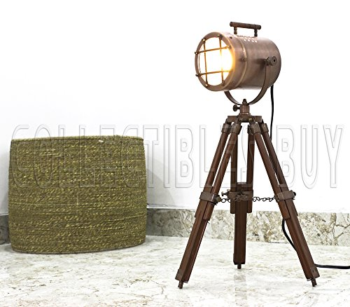 Antique Vintage Desktop Searchlight Adjustable Wood Tripod Lamps LED Table Spotlights Home Decor Copper