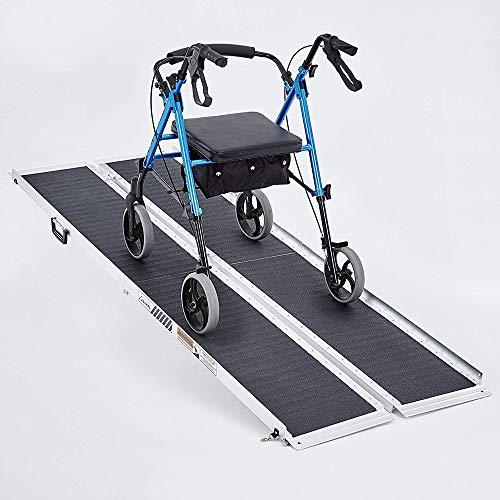 Roboraty Rampa de Maleta Plegable de Aluminio, rampa de umbral, Scooters de Movilidad, Scooter de Aluminio Plegable para Silla de Ruedas, Movilidad portátil, para una Variedad de pavimentos