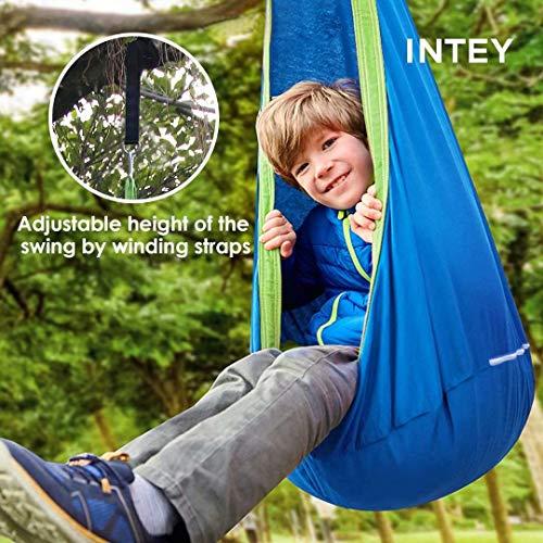 INTEY Hängehöhle Kinder Hängesessel mit Haken und Hängende Seile, Hängesack als Kuschelhöhle oder Turngerät für Kinder, Blau/Grün - 6