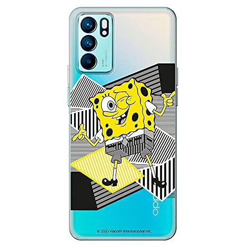 Movilshop Funda para [ OPPO Reno 6 Pro 5G ] Bob Esponja Oficial [Clásico] Nickelodeon de Silicona Flexible Transparente Carcasa Case Cover Gel para Smartphone.