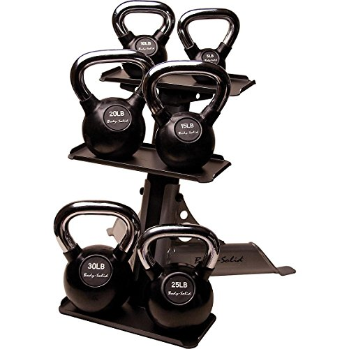 Body Solid 105-Pound Kettle Bell Set with Rack